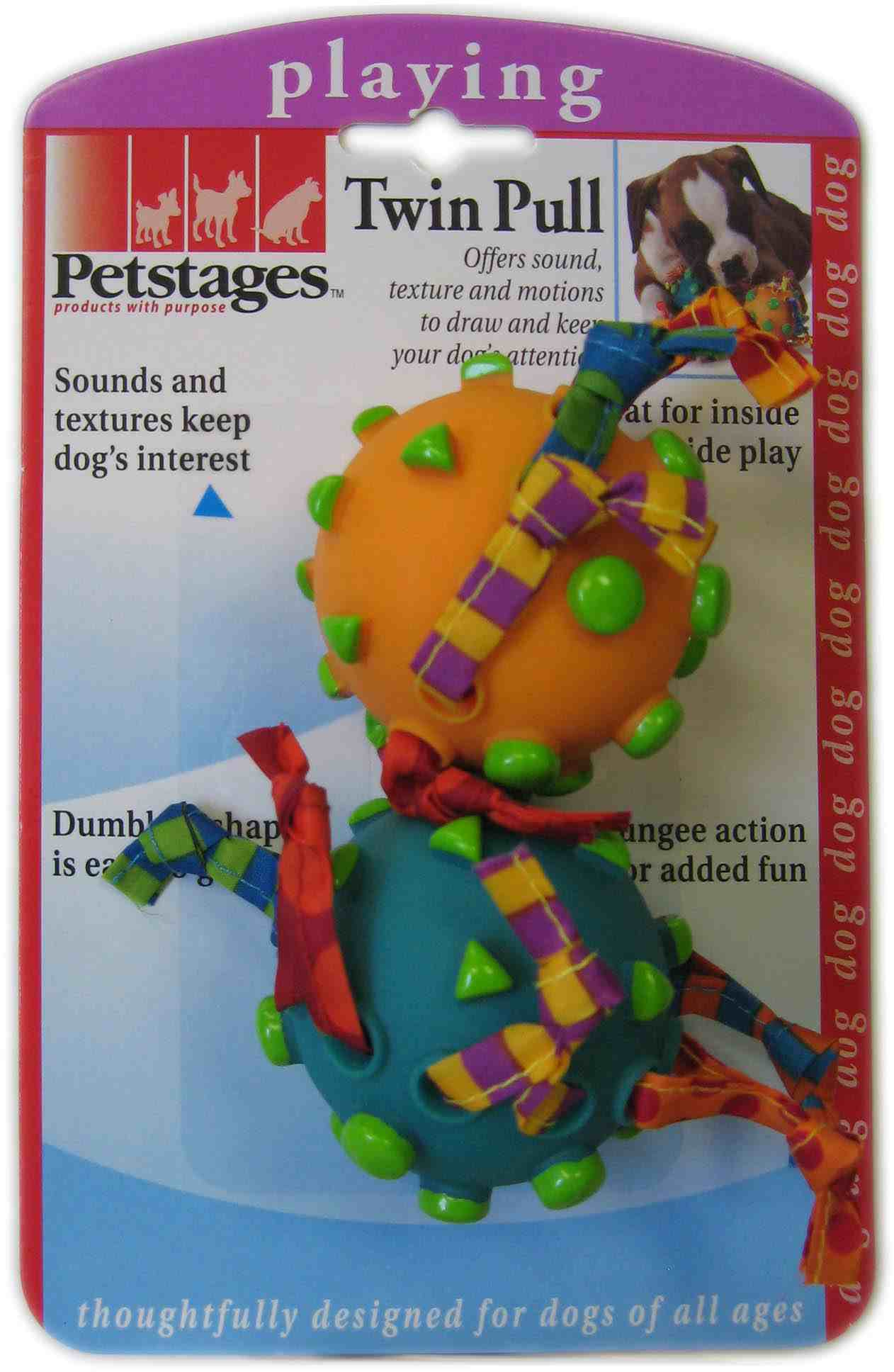 Игрушка для собак Petstages 163YEX Twin Pull Toy Гантеля винил+текстиль